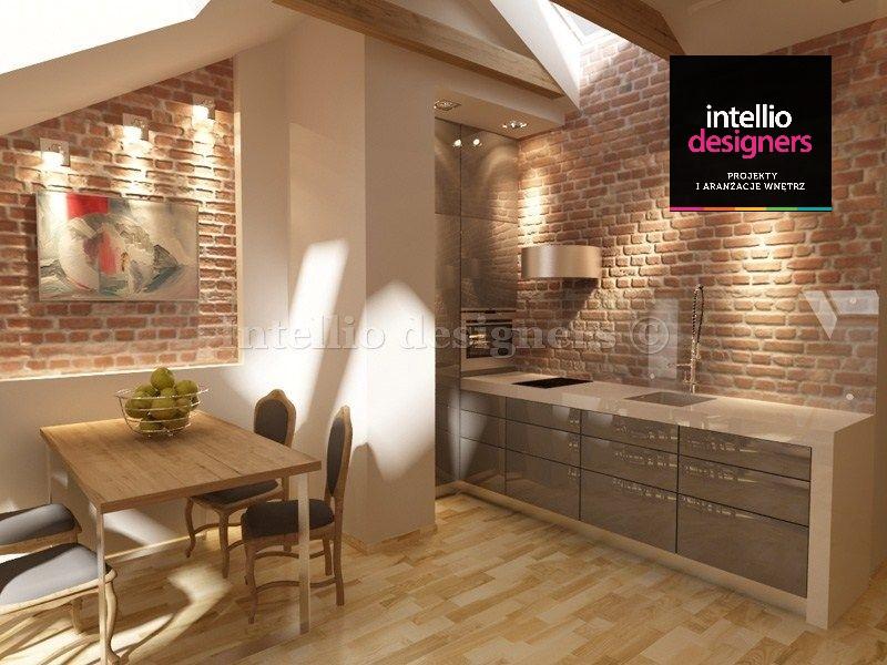 Przytulna kuchnia w luksusowym mieszkaniu wg projektu Intellio designers