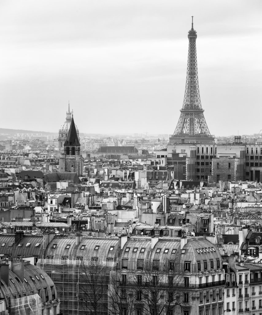 Black and White Aerial View of Paris with Eiffel Tower