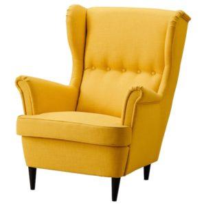 IKEA - STRANDMON Fotel uszak, Skiftebo żółty